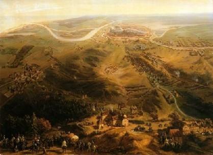 Vue panoramique du siège de la ville de Dantzig par le maréchal Lefebvre (12 mars - 21 mai 1807) par Siméon Jean Antoine Fort